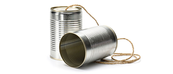 Phone made from tin cans