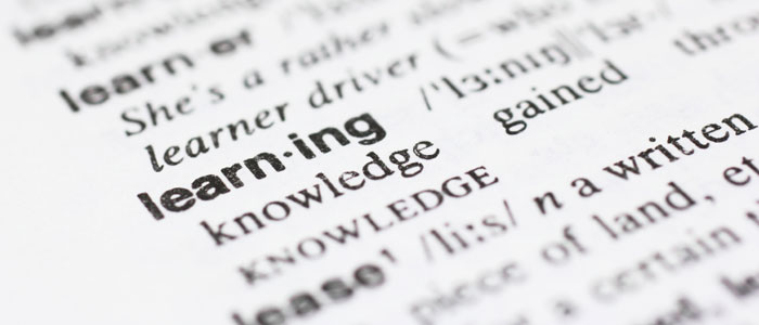 "The word ""learning"" displayed on a dictionary page"