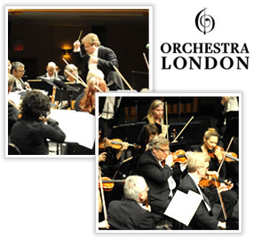 Orchestra London logo and image montage