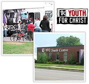 Youth for Christ logo and image montage